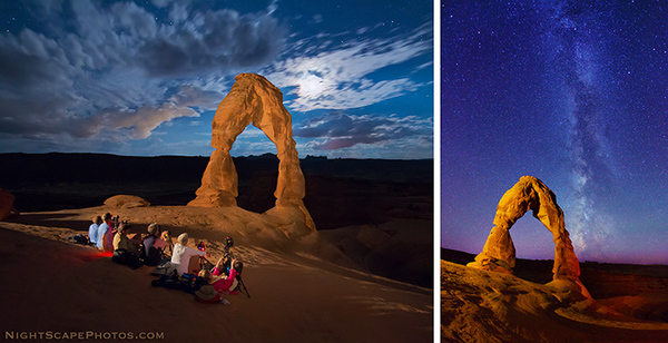 A group of night photography students waiting for the moon to set, so they can photograph the Milky Way behind a light painted Delicate Arch, in Arches National Park, Utah, date not provided | Photo courtesy of Meredith Bowman, Photography Club of St. George, St. George News