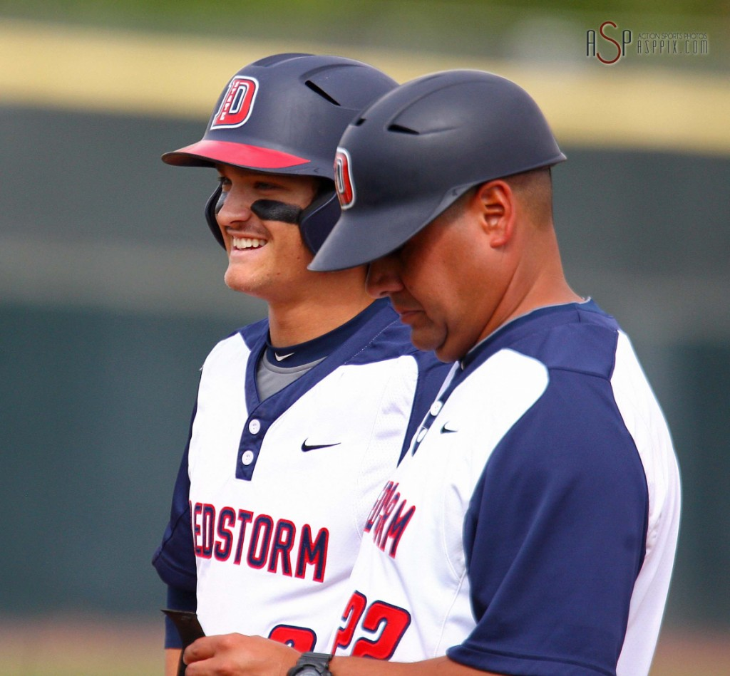 DSU's Drew McLaughlin (left) and assistant coach Dave Martinez, California State University-LA at Dixie State University, St. George, Utah, Apr. 18, 2014 | Photo by Robert Hoppie, St. George News
