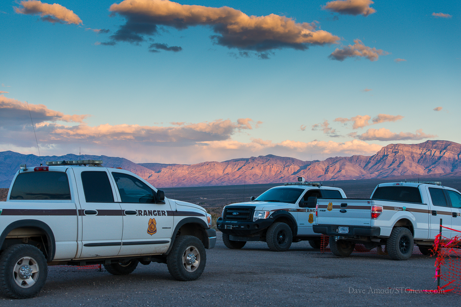 Trucks belonging to the Bureau of Land Management, a federal agency Cliven Bundy views as unconstitutional and flexing authority he refuses to recognize, at the First Amendment zone created in Bunkerville, Clark County, Nev., April 1, 2014 | Photo by Dave Amodt, St. George News