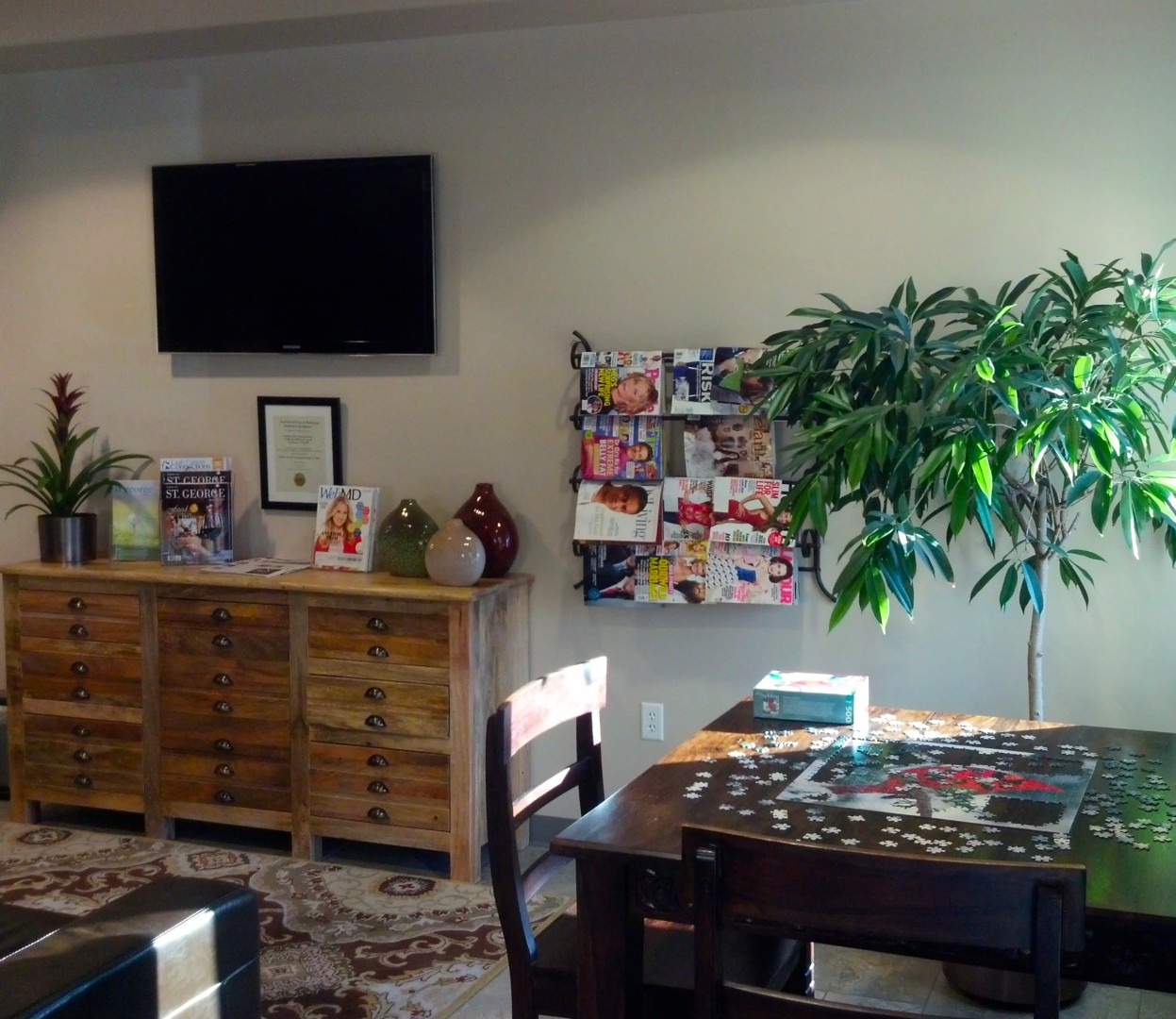Jigsaw Puzzle and other options for patients and family members in the reception area of Gamma West Cancer Services, St. George, Utah, 2014 | Photo courtesy of Gamma West, St. George News