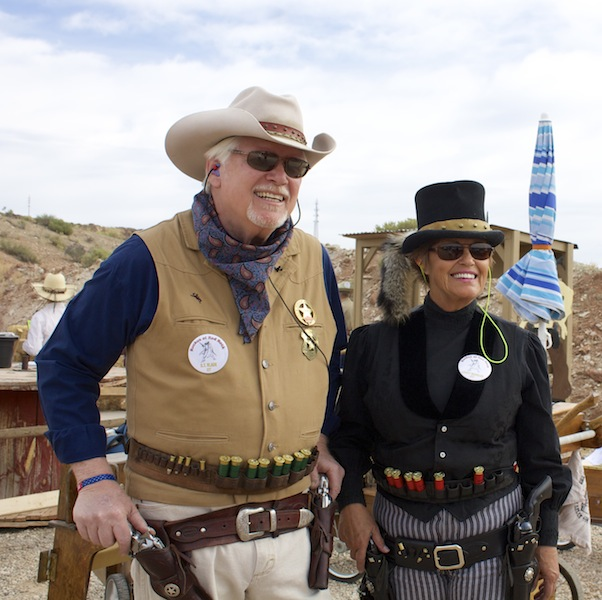 B T Blade and Lucky Wheeler at the cowboy action shooting match, Hurricane, Utah, April 26, 2014 | Photo by Rhonda Tommer
