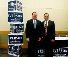 Victor Iverson candidate for Washington County Commissioner with U.S. Sen. Mike Lee, St. George, Utah, April 9, 2014 | Photo courtesy of Victor Iverson, St. George News