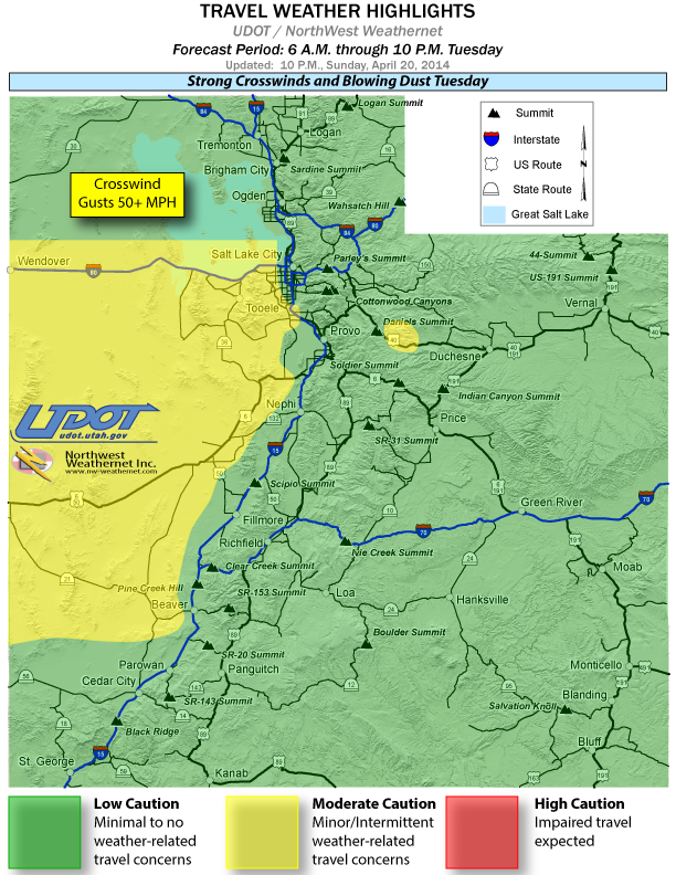 Travel weather alert for April 22, 2014 | Image courtesy of Utah Department of Transportation, St. George News | Click to enlarge