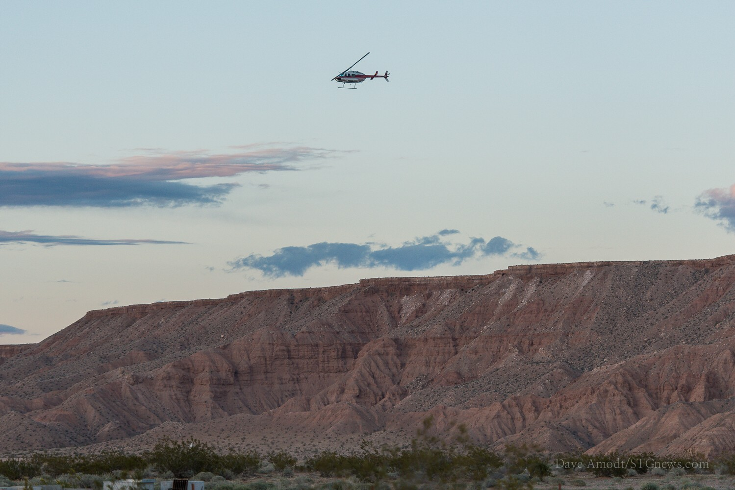A helicopter overhead. Helicopter pilots are among the people privately contracted by the BLM to help gather Bundy's cattle, Clark County, Nev., April 1, 2014 | Photo by Dave Amodt, St. George News