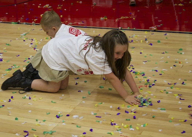 Cleanup after World record-breaking party poppers event, Burns Arena, Dixie State University, St. George, Utah, April 10, 2014 | Photo by Samantha Tommer, St. George News