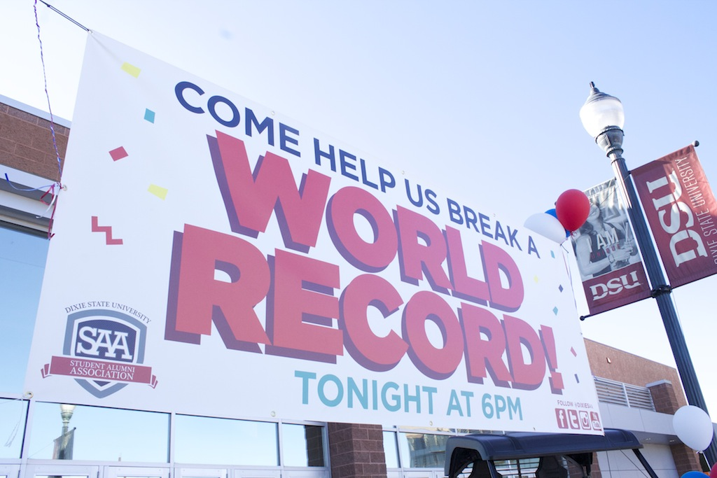 World record-breaking party poppers event, Burns Arena, Dixie State University, St. George, Utah, April 10, 2014   Photo by Samantha Tommer, St. George News