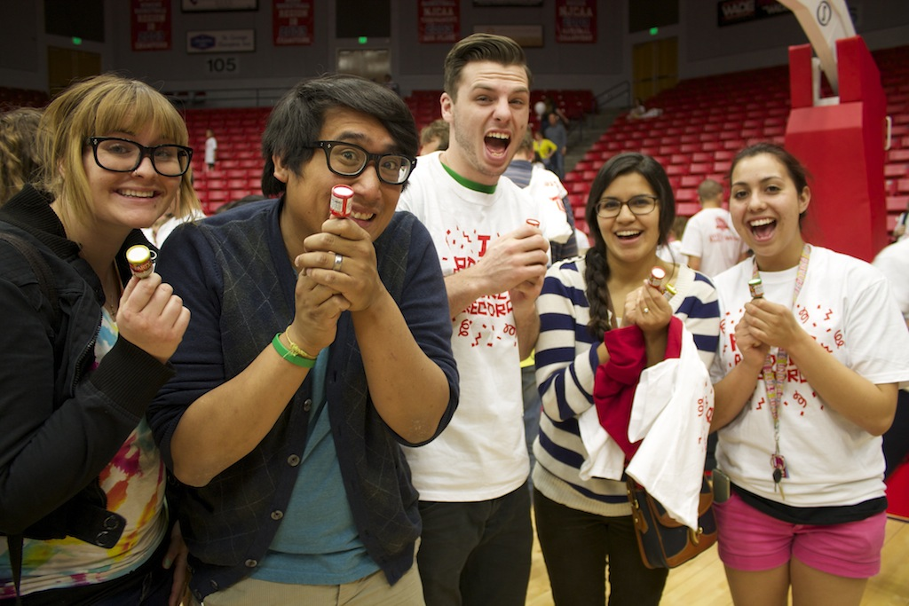 L-R: Shannon Amargo, Ivan Amargo, Joey DeAngelo, Erica Briseno, and Stephani Gonzalez. World record-breaking party poppers event, Burns Arena, Dixie State University, St. George, Utah, April 10, 2014 | Photo by Samantha Tommer, St. George News