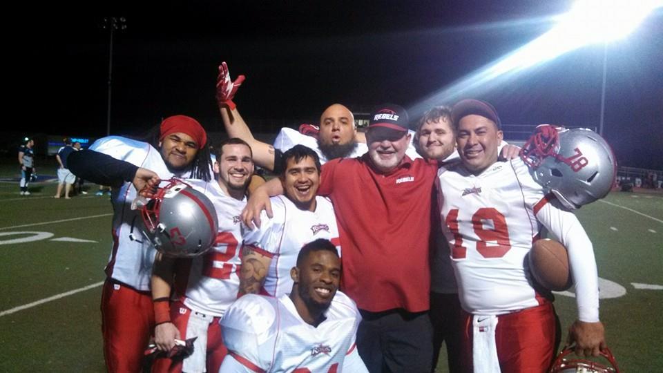 Coach Dale Stott poses with the victorious Rebels Saturday night, Dixie at Utah Stealth, North Salt Lake, Utah, May 3, 2014 | Photo courtesy AJ Martinez