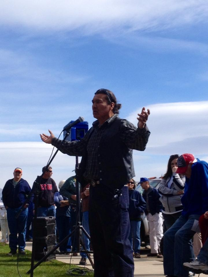 Curtis Yanito representing the Navajo nation addresses protest rally against BLM at Centennial Park, Blanding, Utah, May 10, 2014 | Photo by Greta Hyland, St. George News