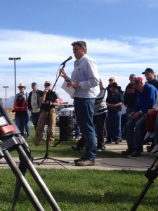 San Juan Commissioner Phil Lyman addresses protest rally against BLM at Centennial Park, Blanding, Utah, May 10, 2014 | Photo by Greta Hyland, St. George News