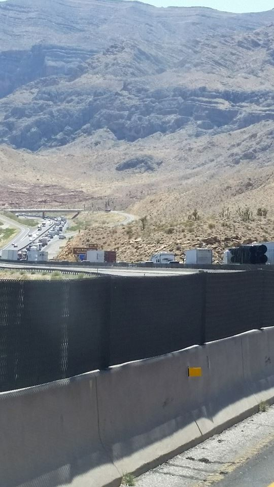 """Traffic through the Gorge,"" Kim Collis posted to St. George News Facebook at about 3:50 p.m. ""Its backed up about an hour."" Virgin River Gorge, Arizona, May 26, 2014 