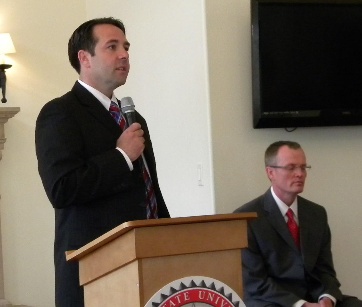 Nathan Caplin speaking at Debate. St George, Utah May 20, 2014 | Photo by T.S Romney St George News