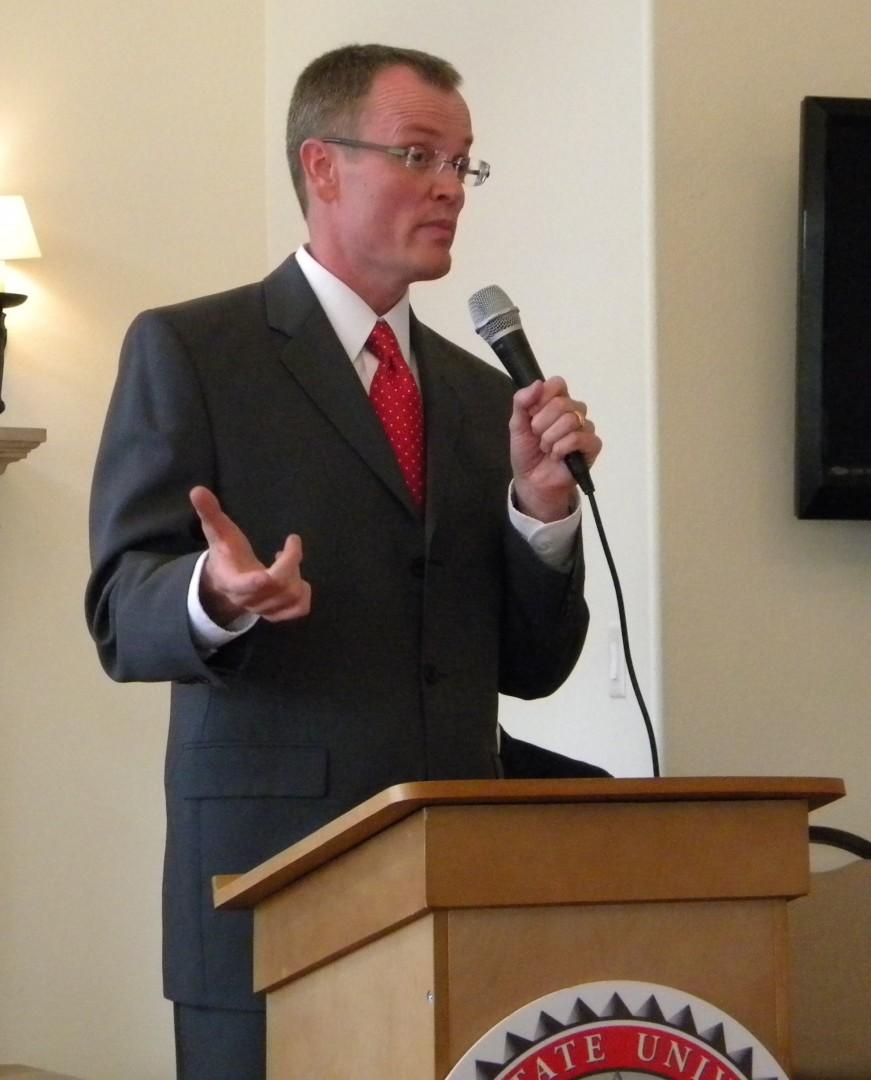 Brock Belnap speaking at the debate. St George, Utah May 20, 2014 | Photo by T.S Romney