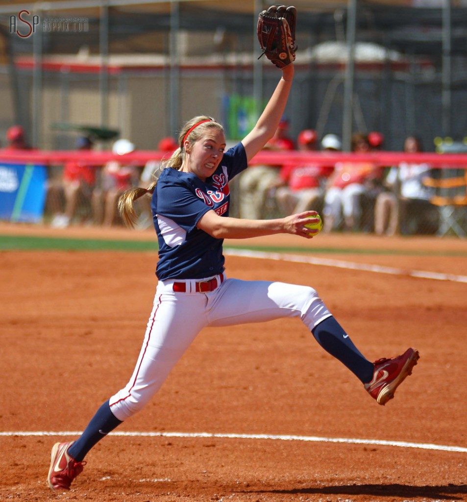 Dixie State pitcher Michelle Duncan launches into her delivery, NCAA D-II West Region action, Dixie State vs. UC San Diego, St. George, Utah, May 10, 2014 | Photo by Robert Hoppie, St. George News
