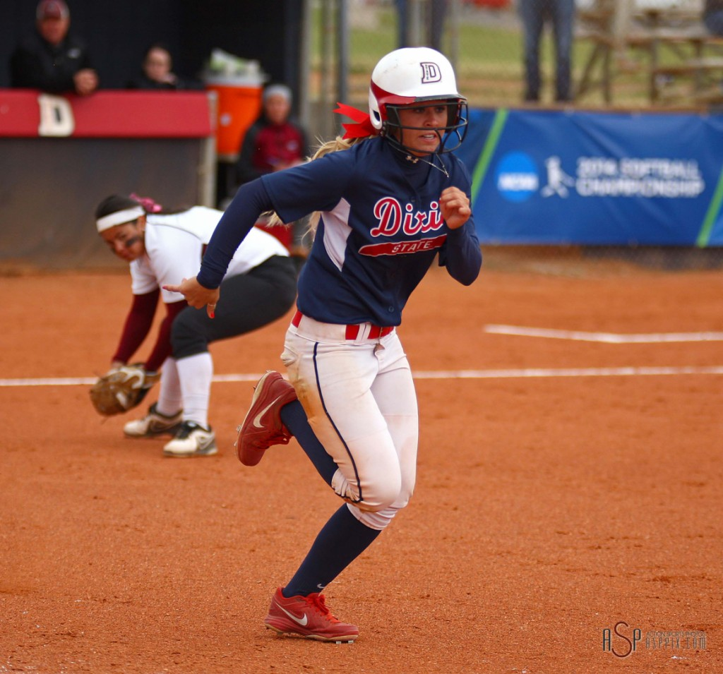 Josey Hartman was 6 for 11 at the National Tournament and was onje of three DSU Players named to the all-tourney team (Michelle Duncan and Janessa Bassett), file photo from Dixie State vs. Central Washington, St. George, Utah, May 11, 2014 | Photo by Robert Hoppie, St. George News