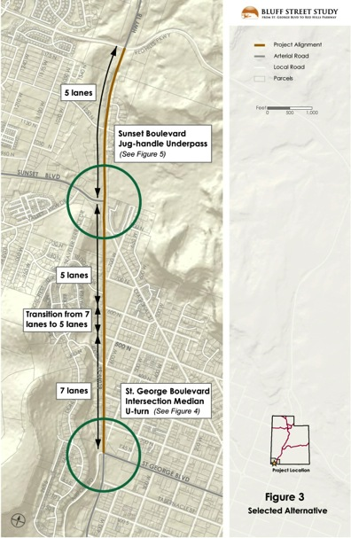 Preliminary designs - created in 2012 - for Bluff Street Mainline construction, St. George, Utah | Graphic courtesy of the Utah Department of Transportation, St. George News