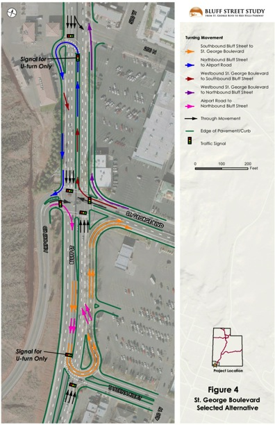 Preliminary designs - created in 2012 - for U-Turn intersection at Bluff Street/ St. George Boulevard, St. George, Utah | Graphic courtesy of the Utah Department of Transportation, St. George News