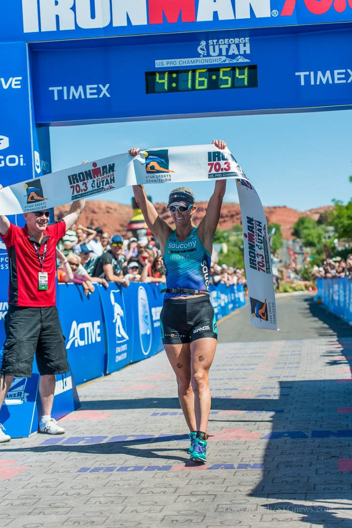 U.S. Pro Champion Meredith Kessler. Ironman 70.3 St. George. St. George, Utah, May 3, 2014 | Photo by Dave Amodt, St. George News