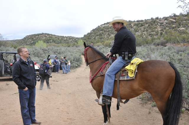 San Juan County Sheriff Rick Eldridge keeping the peace during the protest ride through Recapture Canyon. near Blanding, Utah, May 10, 2014 | Photo by Dallas Hyland, St. George News