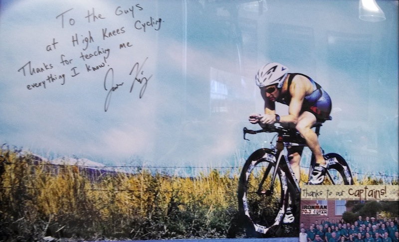 A photo on the wall at High Knees Cycling signed by a happy customer, St. George, Utah, April 28, 2014 | Photo by Rhonda Tommer, St. George News