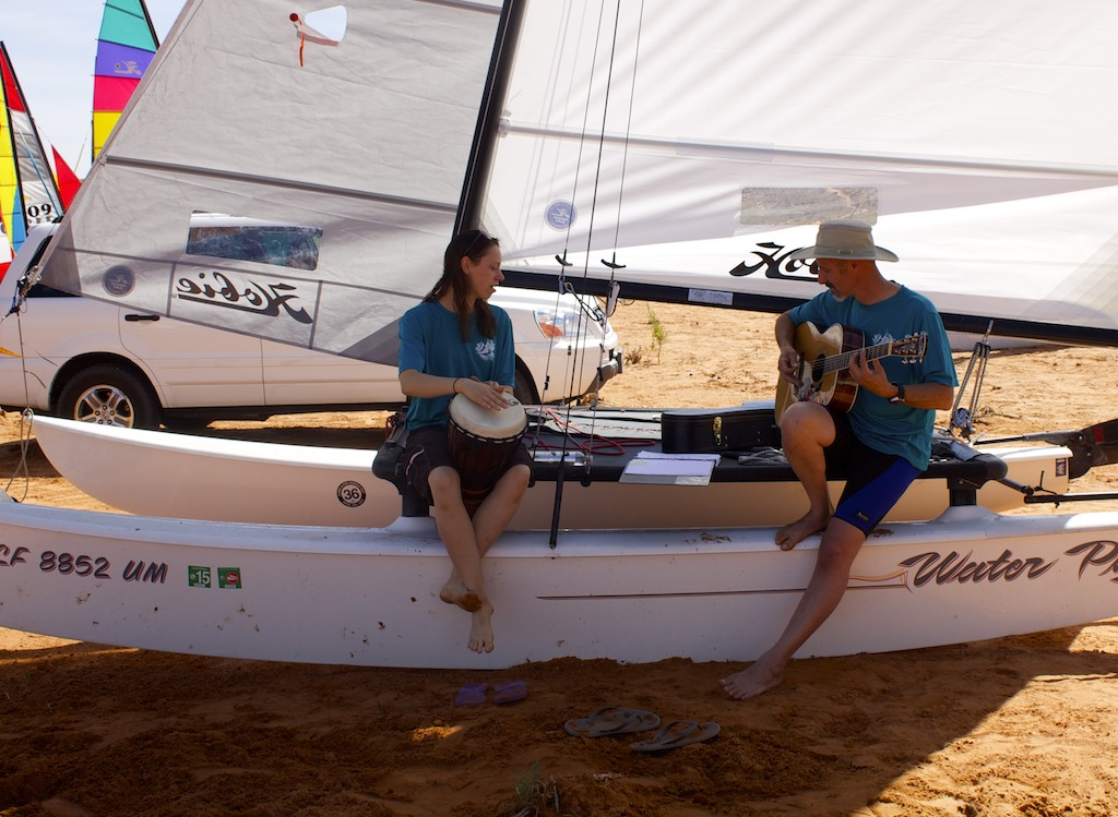Shannon and Hal Stead get ready to provide entertainment at the beach party, Hurricane, Utah, May 17, 2014 | Photo by Samantha Tommer, St. George News