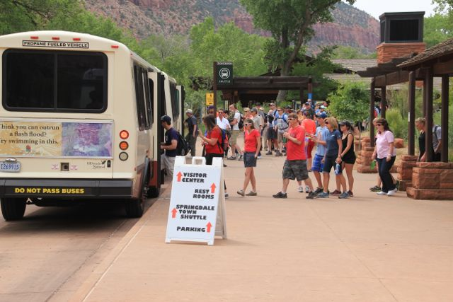 Memorial Day Weekend lines for shuttle transport. Zion National Park, Utah, May 23-26, 2014 | Photo Courtesy of Zion National Park, St. George News