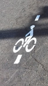 New bicycle road marking at Main Street and St. George Boulevard, St. George, Utah, May 14, 2014 |  Photo by Mori Kessler, St. George News