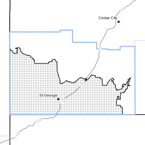Dots denote affected area at radar time 9:25 a.m., Washington County, Utah, May 29, 2014 | Image courtesy of the National Weather