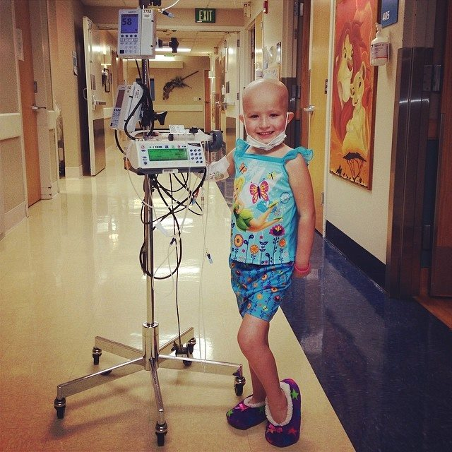 5-year-old Taleah Stevenson walks the halls of Primary Medical Center, Salt Lake City, Utah, May 25, 2014 | Photo courtesy of Tosha Stevenson