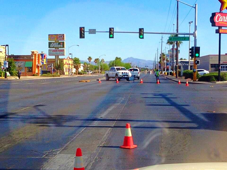 Streets blocked off in aftermath of ambush-style shooting leaves five dead, including two Las Vegas Metro officers, on North Nellis Boulevard, Las Vegas, Nevada, June 8, 2014 | Photo by Dave Amodt, St. George News