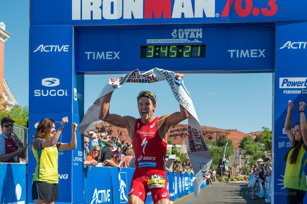 U.S. Pro Champion Jan Frodeno, Ironman 70.3 St. George. St. George, Utah, May 3, 2014 | Photo by Dave Amodt, St. George News
