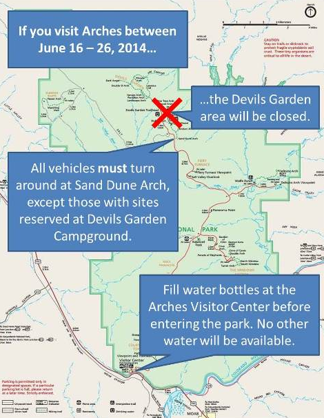 A map detailing the road closures and directions for the renovations in Arches National Park, Moab, Utah, June 14, 2014 | Photo courtesy of Arches National Park Service | Click on image to enlarge
