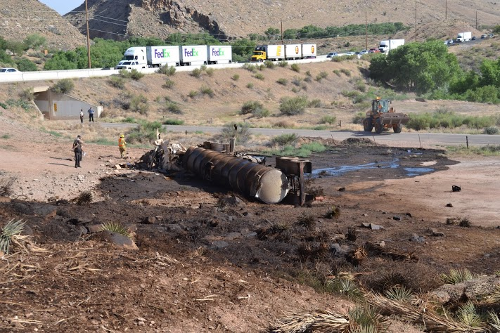 Tanker oil spill on Interstate 15 near mile post 20, Washington County, Utah, June 11, 2014 | Photo by Todd Abbott, St. George News