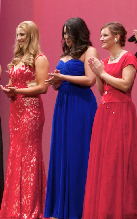 L-R: Aubree Christensen, Megan Church and Mercy Jessop wait to find out who is going to be awarded Washington County 2014 at Desert Hills High School, St. George, Utah, June 28, 2014 | Photo by Samantha Tommer, St. George News