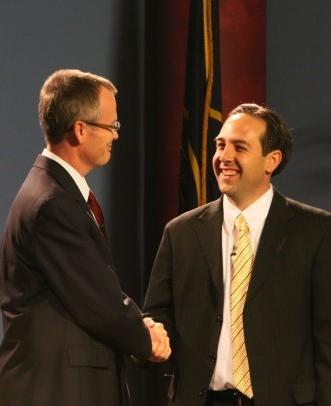 Brock Belnap and  Nathan Caplin shake hands before the debate, St. George, Utah, June 20, 2014 | Photo by John Teas, St. George News
