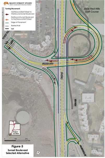 The original jug-handle design of UDOT's Bluff-Sunset interchange, the design has been changed - and the jug handle removed, St. George, Utah | Graphic courtesy of the Utah Department of Transportation, St. George News