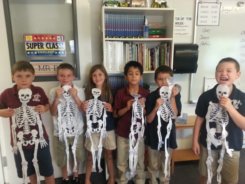 Students learn about bones at Valor Hall, St. George, Utah, August 26, 2013 | Photo provided by Valor Hall, St. George News