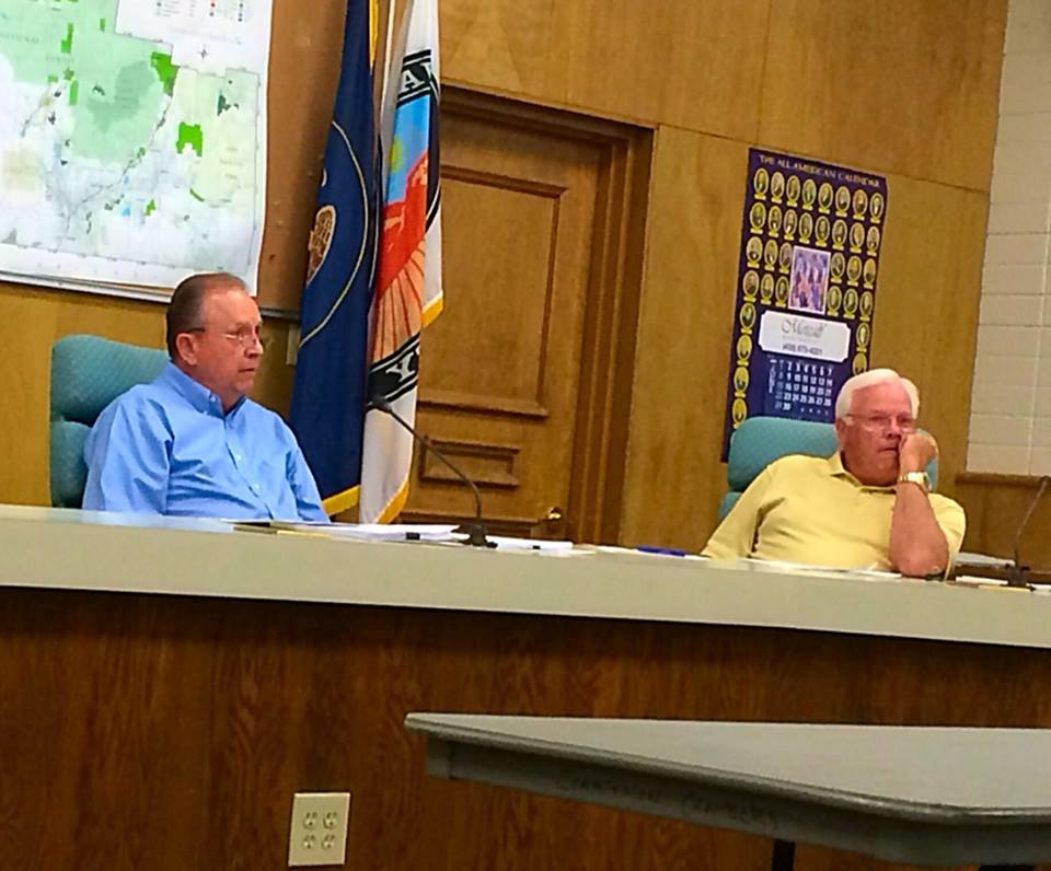 Washington County Chairman James Eardley and Commissioner Dennis Drake listen to comments from attendees of the proposed RV ordinance amendment meeting, St. George, Utah, June 16, 2014   Photo by Kimberly Scott, St. George News