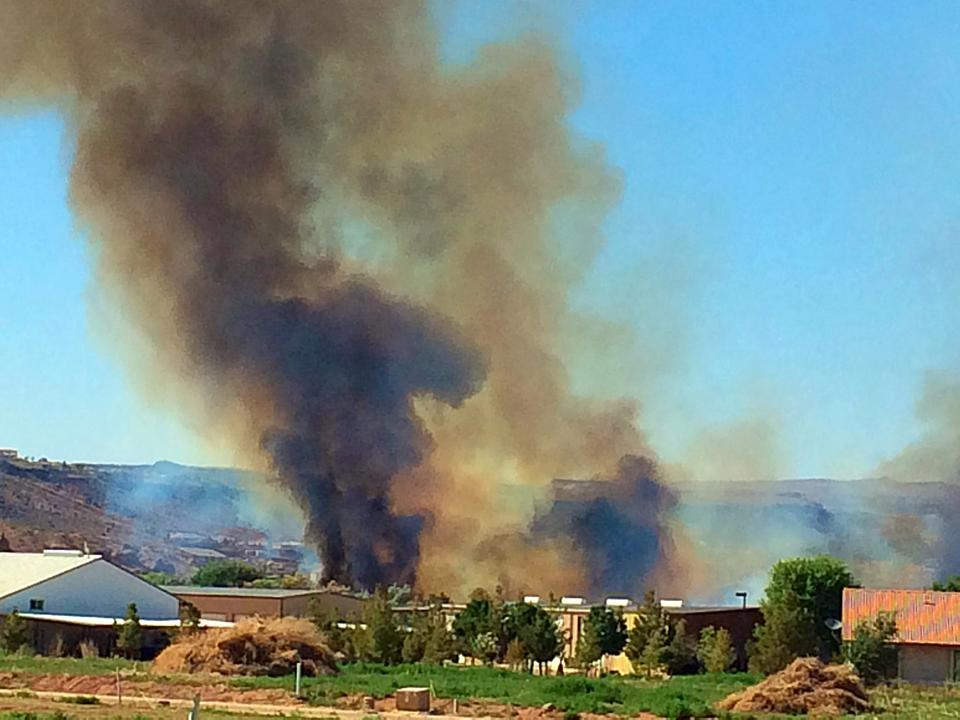 Brush fire near the construction of Mall Bridge and Cox Farm, St. George Utah, June, 1, 2014   Photo by Kimberly Scott, St. George News