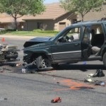 Aftermath of a collision between two cars and three motorcycles at Riverside Drive and 2450 East, St. George, Utah, June 28, 2014 | Photo by Mori Kessler, St. George News