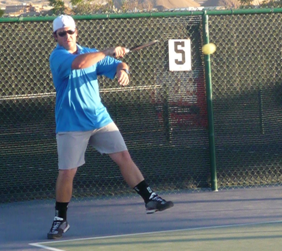 Eric Mathis returns a shot, Utah Summer Games pickleball competition, St. George, Utah, Jun. 27, 2014 | Photo by Shelly Griffin, St. George News