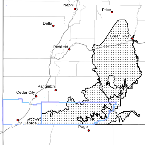 Dots denote area subject to wind advisory at radar time, 5:45 a.m., Southern Utah, June 13, 2014   Image courtesy of the National Weather Service, St. George News