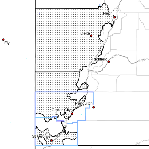 Dots denote area subject to wind advisory at radar time, 5:35 a.m., Southern Utah, June 13, 2014 | Image courtesy of the National Weather Service, St. George News