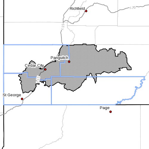 Dots denote affected area at radar time 7:35 a.m., Washington County, Utah, June 29, 2014   Image courtesy of the National Weather