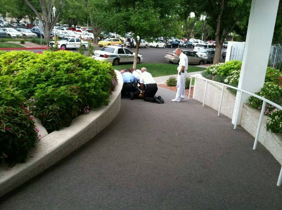 Police arrest man at the temple, St. George, Utah, July 19, 2014 | Photo courtesy of Trevor Sanders, St. George News