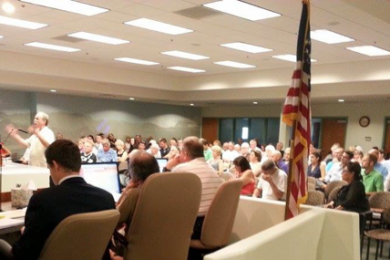 Mesquite City Council holds town hall meeting about proposed medical marijuana ordinance, Mesquite City Hall, Mesquite, Nevada, July 29, 2014 | Photo by Drew Allred, St. George News