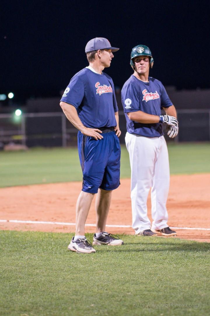 Coach Shane Johanson (left) and Josh Howard, St. George American Legion baseball vs. Cedar summer squad, St. George, Utah, July 23, 2014 | Photo by Dave Amodt, St. George News,