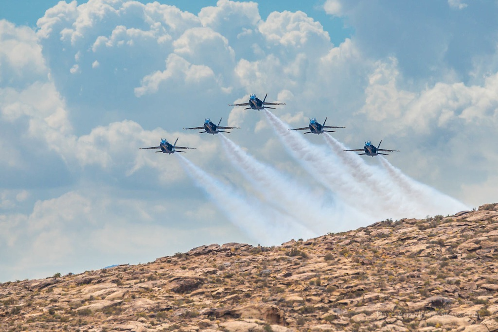 The Blue Angels fly F/A-18 Hornets in standard blue and yellow Navy colors, St. George, Utah, July 26, 2014 | Photo by Dave Amodt, St. George News