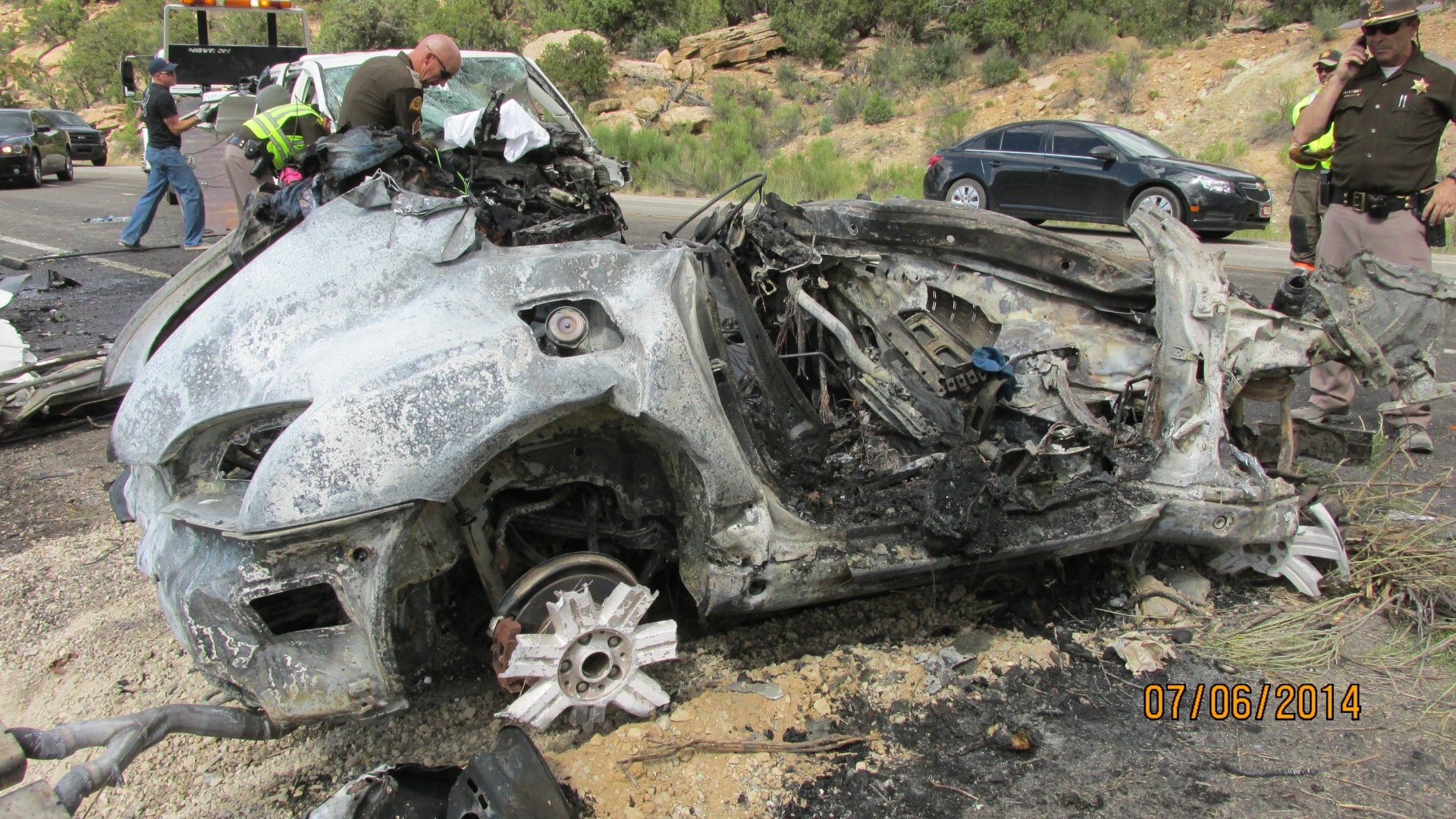 The aftermath of a head-on collision on state Route 191 in San Juan County, Utah, July 6, 2014 | Photo courtesy of Utah Highway Patrol, St. George News
