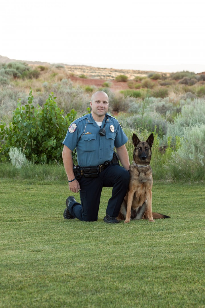 Hurricane City Police Officer Jayson Despain receives a new K-9 partner named Paige, Hurricane, Utah, 2014 | Photo courtesy of the Hurricane City Police Department, for St. George News